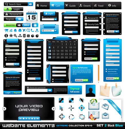 web 2: Web design elements extreme collection 2 BlackBlue - Many different form styles, frames, bars, icons, banners, login forms, buttons and so on!