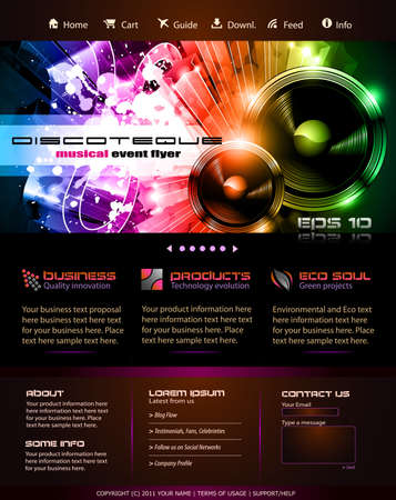 Music Themed Webtemplate or Blog Graphics Stock Vector - 9116021