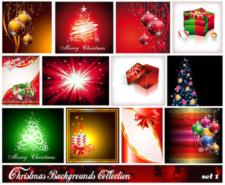 Collection of 12 Christmas Backgrounds - Set 1 Stock Vector - 9162383