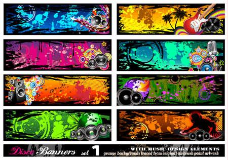 music banner: Disco Banner collectie met veel muziek ontwerpelementen - Set 1