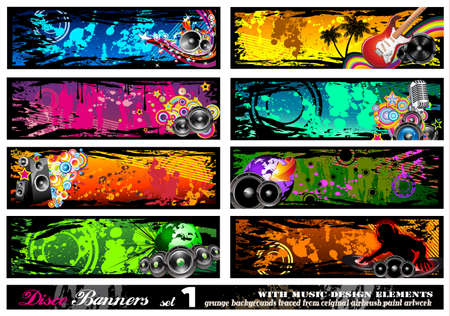 Disco Banner Collection with a lot of Music Design Elements - Set 1 Vector