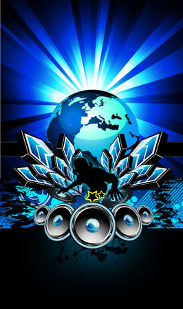 baile hip hop: Folleto colorido para evento internacional de m�sica de discoteca