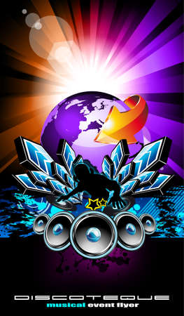 Colorful Flyer for International Disco Music Event Vector