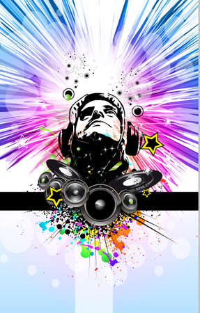 disk jockey: King of the Disco Dj Background for Music Event Flyer