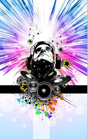 disk jockey: Re di discoteca Dj Background Music Event Flyer