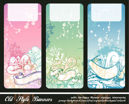 Abstract Floral Bookmark Banners with grunge style background Vector