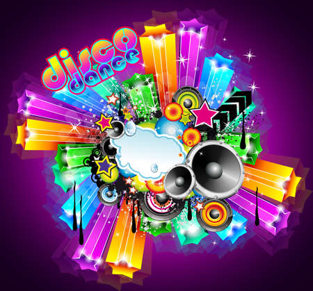 NightLife Disco Event Background with Rainbow Stars and Music Elements Vector