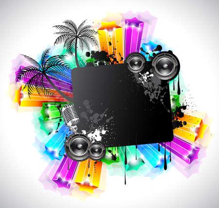 disk jockey: Vita notturna discoteca evento sfondo con elementi di musica e stelle arcobaleno