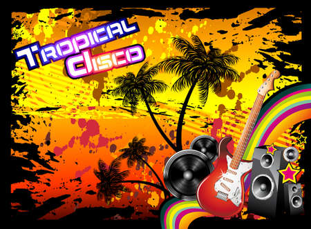 rainbow colours: Tropical Music Event Disco Flyer with rainbow colours Illustration