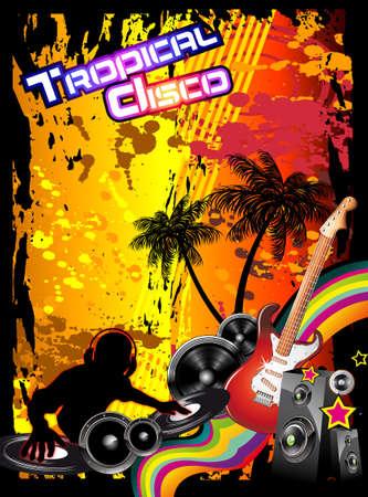 fiesta dj: Tropical música evento Disco Volante con los colores del arco iris Vectores