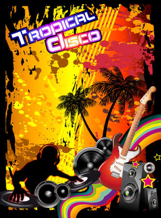 tropical frame: Tropical Music Event Disco Flyer with rainbow colours Illustration