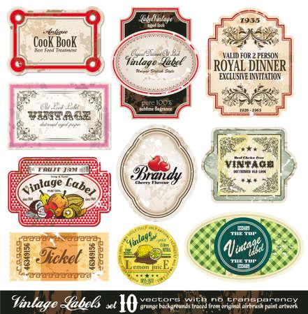 likeur: Vintage collectie Labels - 10 ontwerpelementen met originele antieke stijl - Set 10
