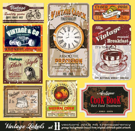 hot rod: Vintage Labels Collection - nine design elements with original antique style -Set 11 Illustration