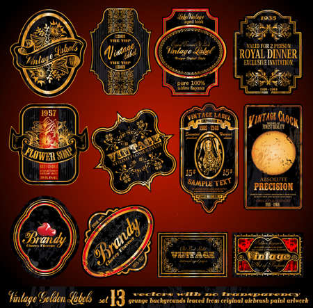 Vintage Labels - 16 Black and Gold Elements with distressed Antique look - Set 13 Vector