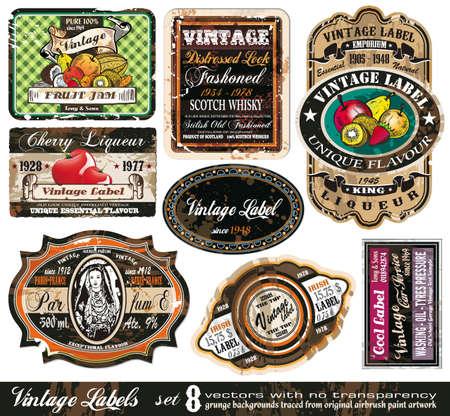likeur: Vintage collectie Labels - 8 ontwerpelementen met originele antieke stijl - 8 instellen