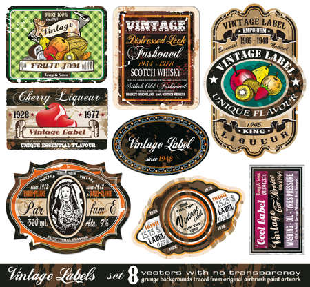 Vintage Labels Collection - 8 design elements with original antique style -Set 8 Vector