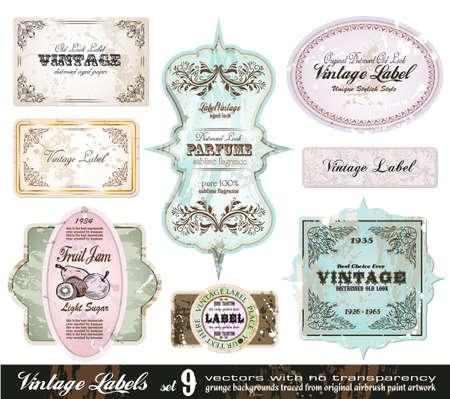 Vintage Labels Collection - 8 design elements with original antique style -Set 9 Vector
