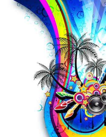 Tropical Magic Disco Dance Flyer with Rainbow Colours Stock Vector - 9226777