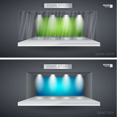boutique display: Showroom for product with LED spotlights and place for text or image