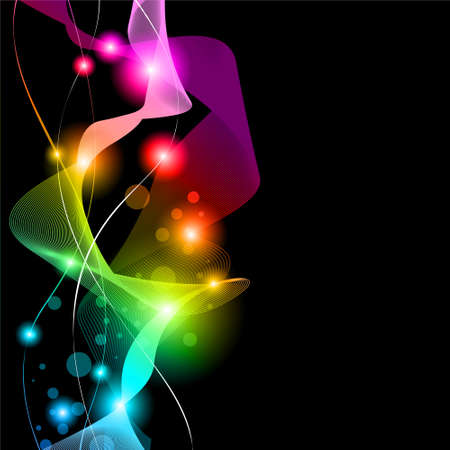 Abstract Space Scenary of llight with Raibow Colours Background Vector