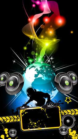 retro disco: Volante de Disco alternativo para el evento de m�sica internacional Vectores