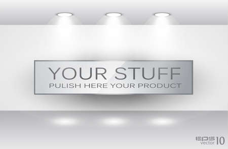 Showroom for product with LED spotlights and place for text or image