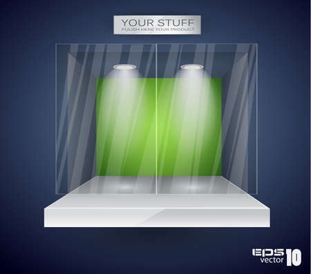 Showroom for product with LED spotlights and place for text or image Stock Vector - 9226785
