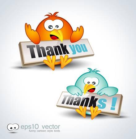 Funny Cartoon Birds 3D icon to say Thank you Vector