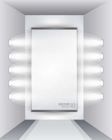 Showroom for product with LED spotlights and place for text or image Vector
