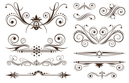 swirl backgrounds: Ornamento e decorazione delle frontiere il classico design Vettoriali
