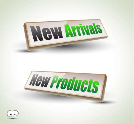 new products: New Arrivals Box Panel: 3D icons with shadows Illustration
