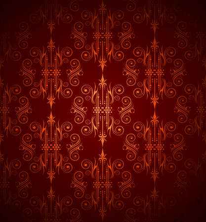 victorian style: Seamlessly Wallpater with Dark Red and Orange ColoursTones Illustration