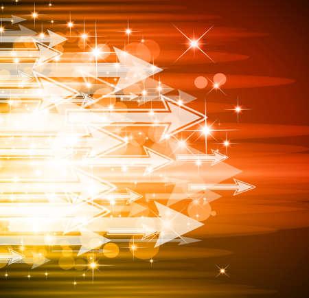 brillante: Abstract sugestive sfondo con flusso di luci e frecce Vettoriali