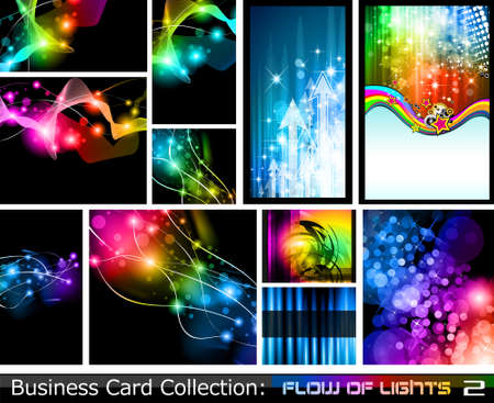 Abstract Business Card Collection: Flow of lights 2 Vector