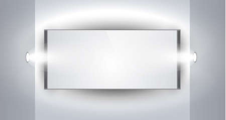 Showroom Panel for product with LED spotlights and place for text or image Vector