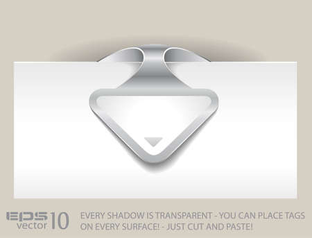 Paper arrow tag with TRANSPARENT shadows. You can place it on every surface! Stock Vector - 9476125