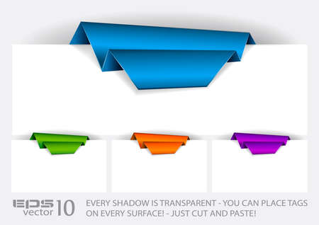 every: Origami Paper tag with TRANSPARENT shadows. You can place it on every surface!