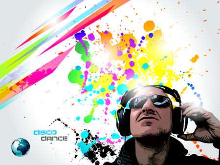 Artistic Disco Flyer with DJ shape and a lot of Liquid Drops Stock Vector - 9476145