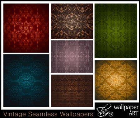stilish: Stilish Set of 7 seamless vintage wallpapers Illustration