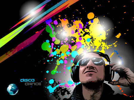 Artistic Disco Flyer with DJ shape and a lot of Liquid Drops Stock Vector - 9514656