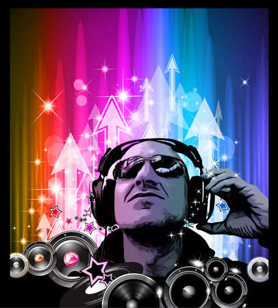 Artistic Disco Flyer with DJ shape and a lot of Liquid Drops Vector