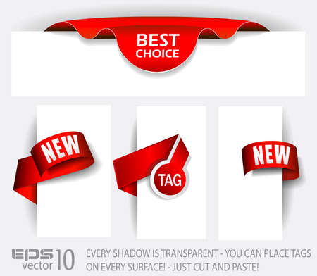Original Style Red Tags with TRANSPARENT shadows. Ready to copy and paste on every surface. Stock Vector - 9595280