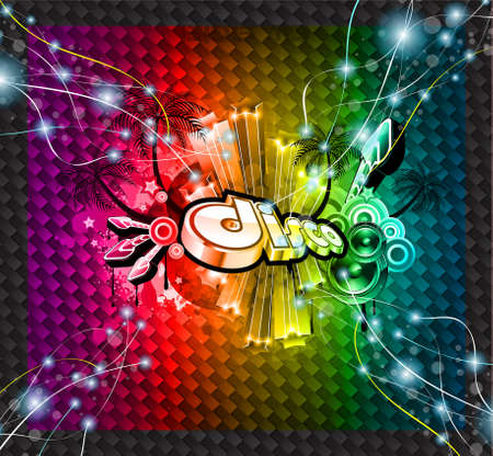discotheque: Disco Event Background with and Explosion of colurs  Ready for flyers and posters  Illustration