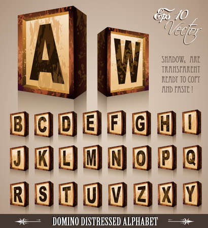Vintage Domino Style Alphabet 3D with distressed antique look. Shadows are transparent so ready to be placed everywhere Vector