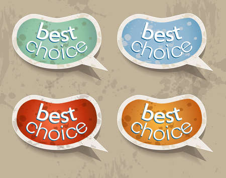 Distressed Beans Speech bubbles set with 4 grunge colours. Shadows are transparent. Vector