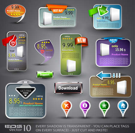 Set of Various Design Elements for Web or Blog Templates Vector