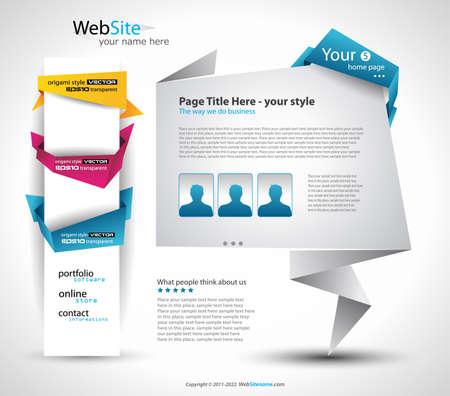 折り紙のウェブサイト - ビジネス プレゼンテーションのためのエレガントなデザイン。すべての影は透過的です。
