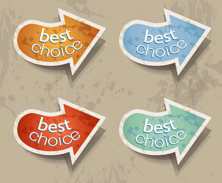 Distressed Arrows Speech bubbles set with 4 grunge colours. Vector