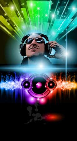 party dj: Affichette de musique disco avec lumi�res forme plaisanteries de disque et arc-en-ciel.