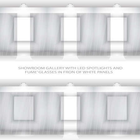 Contemporary Elegant Showroom wall with opening smoked glass doors in front of white panels Vector